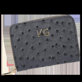 Značkové kožené Dámske peŘaženky v štýle pštrosa Vittoria Gotti vyrobené v Taliansku šedou