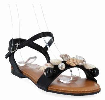 Čierne módne dámske sandále s mušľami Sergia Todziho