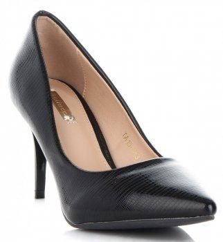 Elegantné patent kožené dámske podpätky Bellucci čierny