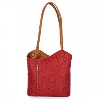 Talianska pravá kožená taška červená s červenou