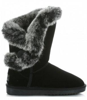 Talianske Kožené Členkové Topánky Ženy Zimné Topánky Králičie Kožušiny Čierne