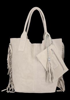 Módna kožená nákupná taška vyrobená zo semišu v Boho štýle od Vittoria Gotti beige