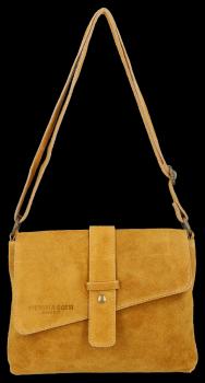 Univerzálna Kožená taška Vittoria Gotti pre každú príležitosť horčica