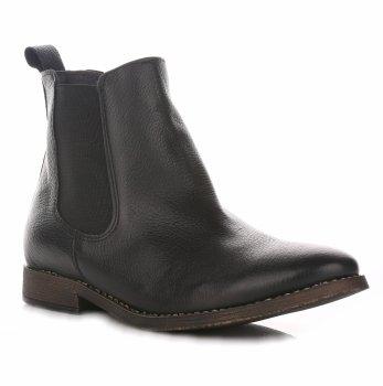 Dámske čierne kožené členkové topánky