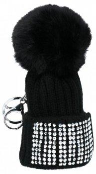 Kľúčenka na tašky módne klobúk s kamienkami Čierne