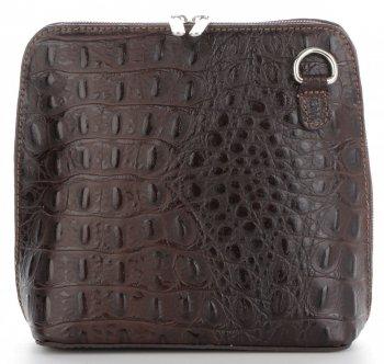 Talianska Kožená taška z pravej kože s krokodílovým vzorom