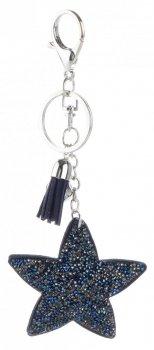 Kľúčenka pre kabelku hviezda v kryštáloch Tmavo modrá