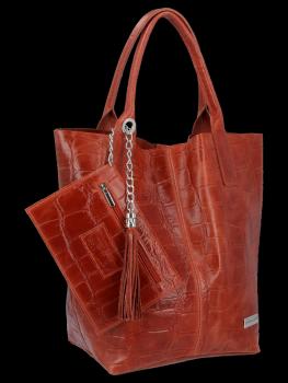 Univerzálna Kožená taška XL Shopper v štýle zvierat od Vittoria Gotti hnedý