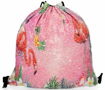 Módne batoh dámska taška s iskry Flamingo svetlo ružová