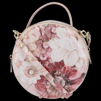 Okrúhla kožená taška na messenger s Kvetinovou potlačou Vittoria Gotti prášková ružová