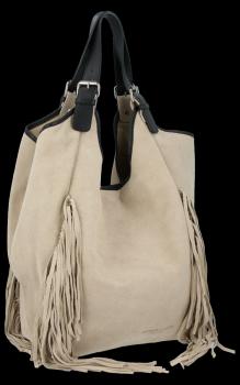 Módna kožená taška Shopper so strapcami od Vittoria Gotti beige