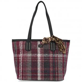 David Jones Značkové dámske tašky v módnom kockovanom fialovom dizajne