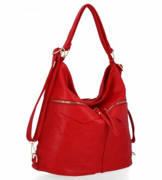 Univerzálna dámska taška s funkciou batohu od Herisson červený