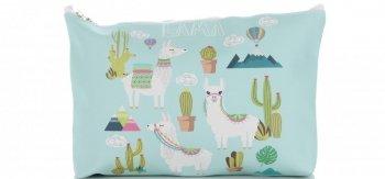 Značkové a módne kozmetické tašky značky s-size David Jones pattern Lama Multicolor Mint