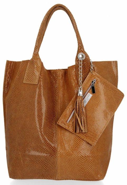 Kožené kabelky Shopper bag Lakované Zrzavá