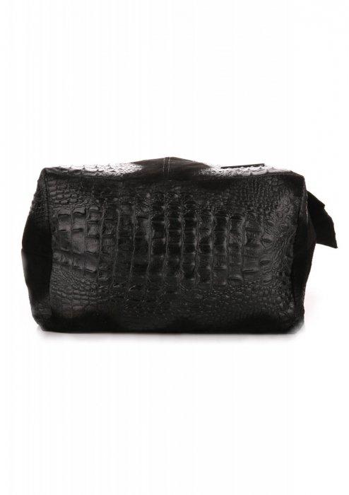 Kožené Kabelky VITTORIA GOTI Made in Italy Shopperbag Aligator černá