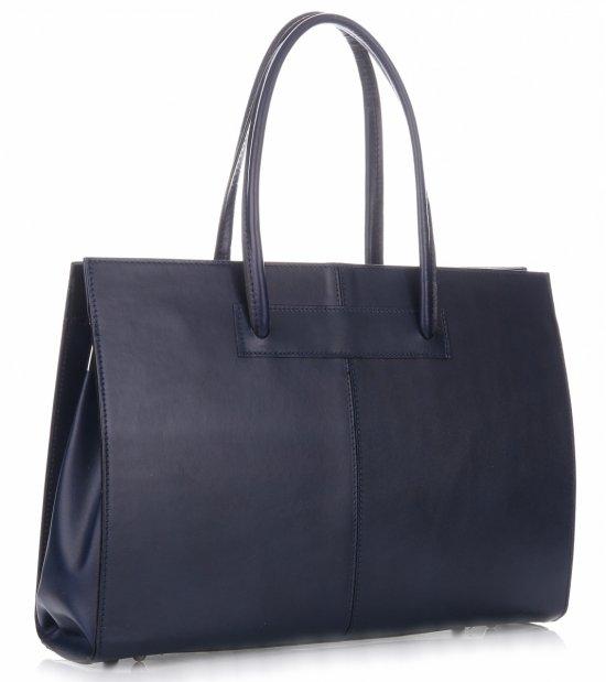 Kožená kabelka aktovka A4 Genuine Leather Tmavě Modrá - Panikabelkova.cz 95a289e6cec