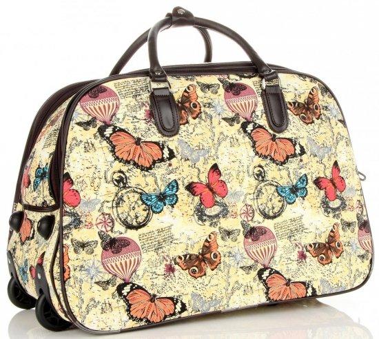 Cestovní taška na kolečkách s výsuvnou rukojetí motýli Or&Mi multicolor Žlutá