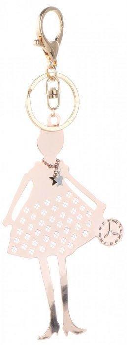 Přívěšek ke kabelce chromovaná postavička ženy rose gold