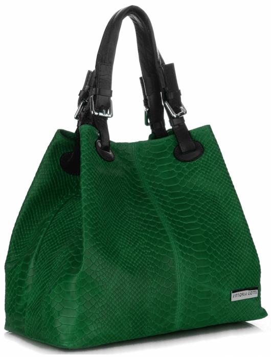 464a2fd3de Univerzální kožená italská kabelka Vittoria Gotti Zelená ...