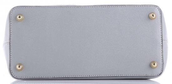 Klasická kožená kabelka Genuine Leather světle šedá