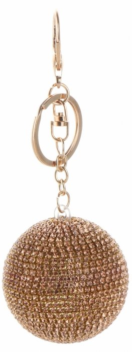 Přívěšek ke kabelce Velká elegantní koule se zirkony staré zlato