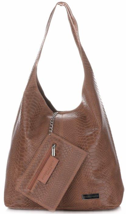 e4bd68f3ee Velká dámská kožená kabelka Shopper Aligátor Vittoria Gotti zemitá ...