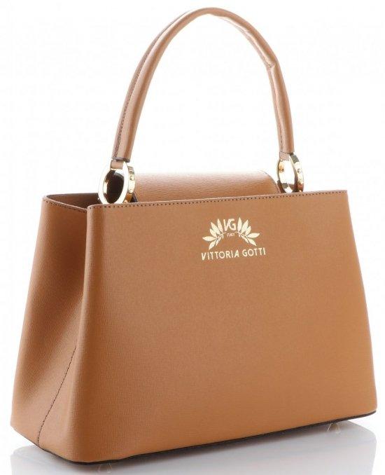 2a314001b20 Vittoria Gotti Made in Italy Elegantní Dámská kabelka kožená kufřík Zrzavá