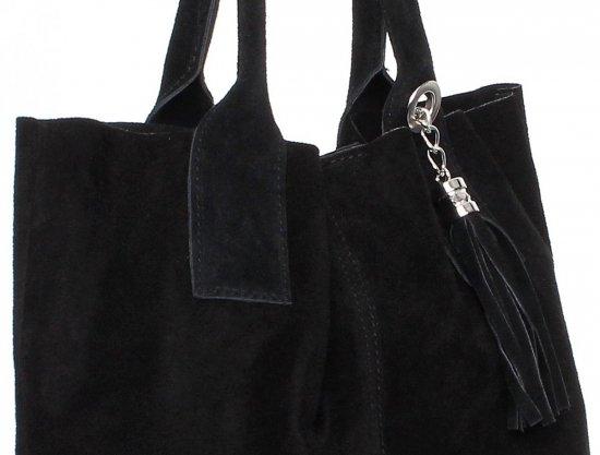 Torebka skórzana  Shopper bag zamsz naturalny Czarna