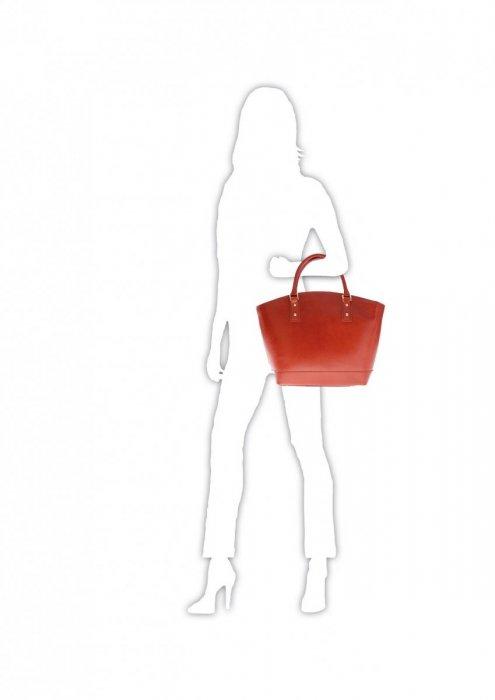 Modne Torebki skórzane typu Shopper bag łódka Ruda