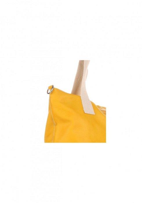 Modna Torebka skórzana Włoski Shopper bag Żółta