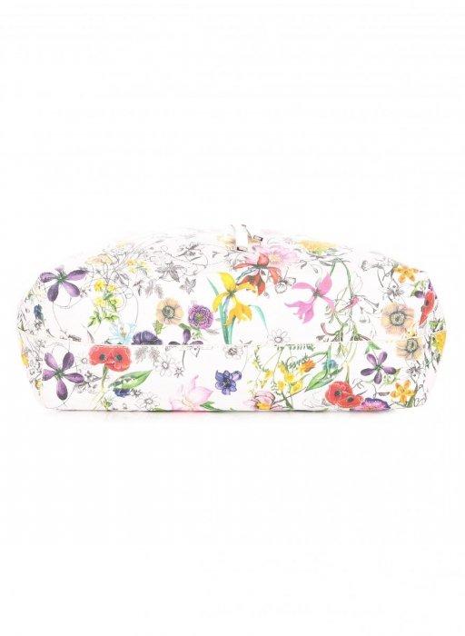 Dwustronna Torba Damska XL David Jones w Kwiaty z Kosmetyczką Biała