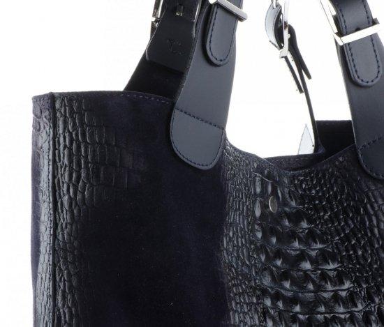 Uniwersalna Torba Skórzana Shopper XXL z Kosmetyczką wzór Aligatora Granatowa