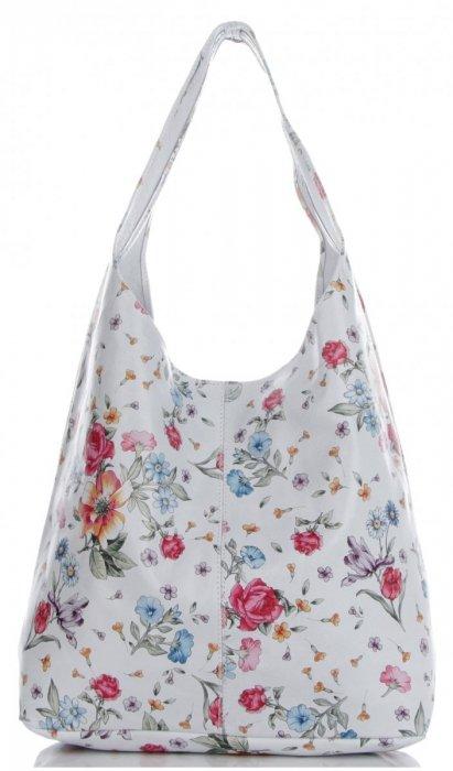 baa0a4a55bf51 Torebka Skórzana firmy Vittoria Gotti Uniwersalny Włoski Shopper w modne  wzory Kwiatów Biała