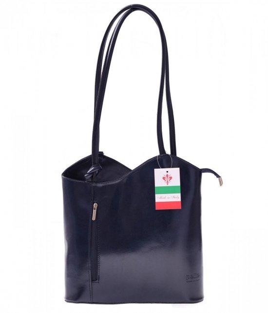 Torebka skórzana Plecaczek Made in Italy Granatowa
