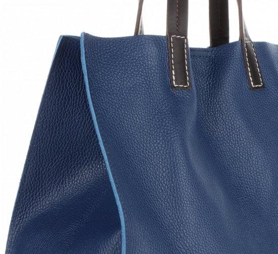 Praktyczne Torebki Skórzane 2 w 1 Shopper z Listonoszką firmy Genuine Leather Granatowa