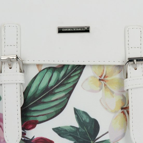 Modne Plecaczki Damskie w kwiaty firmy David Jones Biały