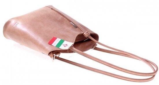 Torebka skórzana Plecaczek Made in Italy Beżowa