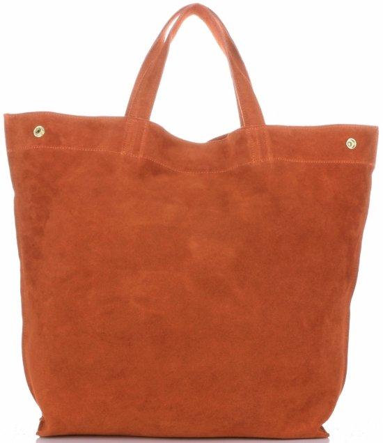 ca91518cd9614 Włoski Skórzany Shopper XL firmy Vera Pelle Pomarańczowy ...
