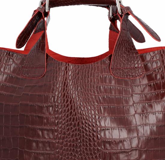 Vittoria Gotti Ekskluzywna Torebka Skórzana Shopper produkcji Włoskiej w modny wzór aligatora z Kosmetyczką Bordowa