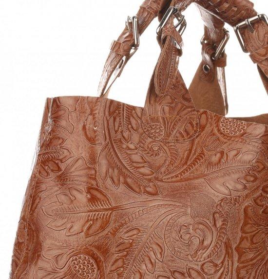 831816dc27274 Torebki Skórzane Genuine Leather Ponadczasowy ShopprBag z Kosmetyczką Ruda