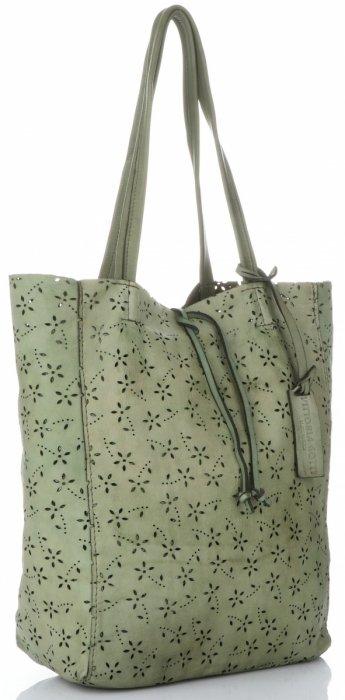 c4f1185401971 Vittoria Gotti Premium Torebka Skórzana Ażurowy ShopperBag w stylu Vintage  Zielona