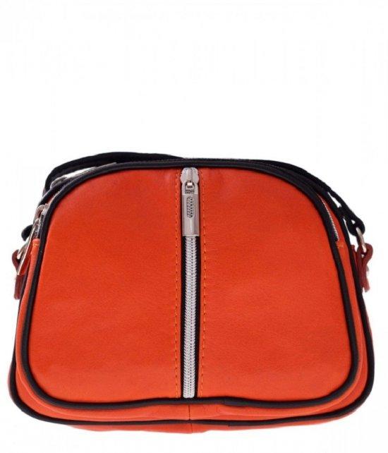 Listonoszki skórzane Genuine Leather 3 przegrody Pomarańcz
