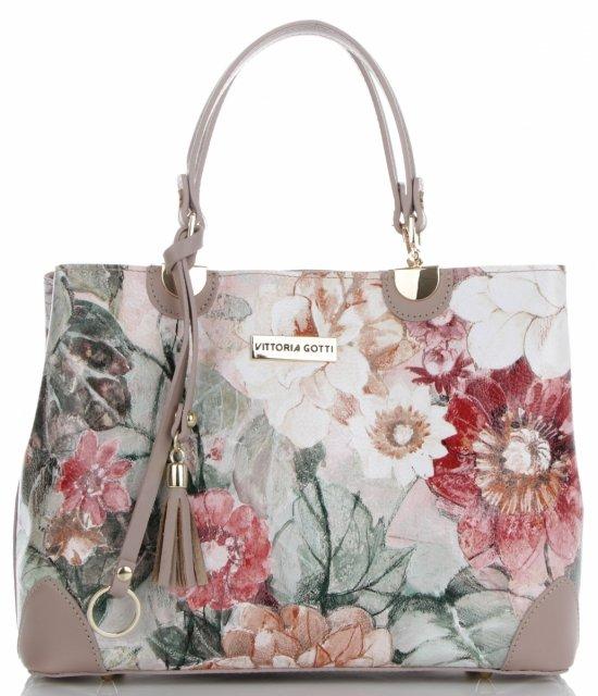 12a1b27711e55 Vittoria Gotti Modna Torebka Skórzana Elegancki Kuferek Made in Italy we wzór  kwiatów Multikolor Pudrowy Róż