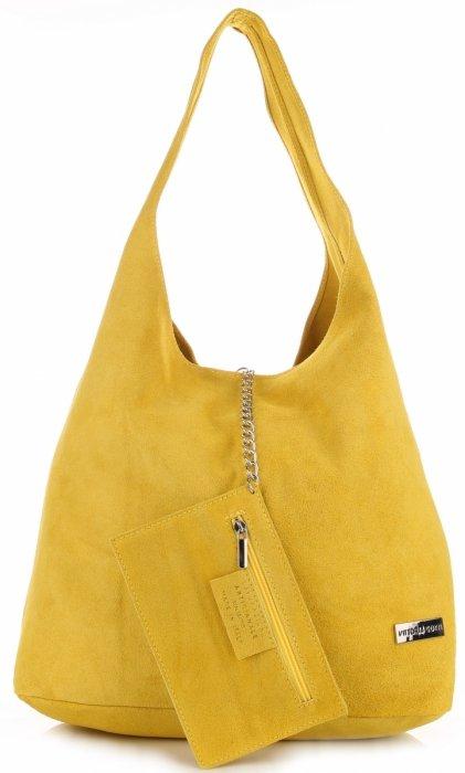 446a63840bce7 Oryginalne Torby Skórzane XL VITTORIA GOTTI Shopper Bag z Etui Żółta ...