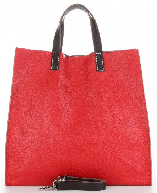 Praktyczne Torebki Skórzane 2 w 1 Shopper z Listonoszką firmy Genuine Leather Czerwona