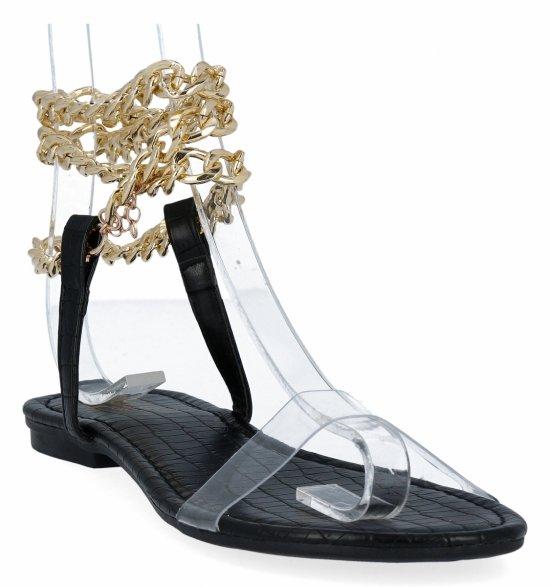 Czarne sandały damskie z łańcuszkiem firmy Sergio Todzi