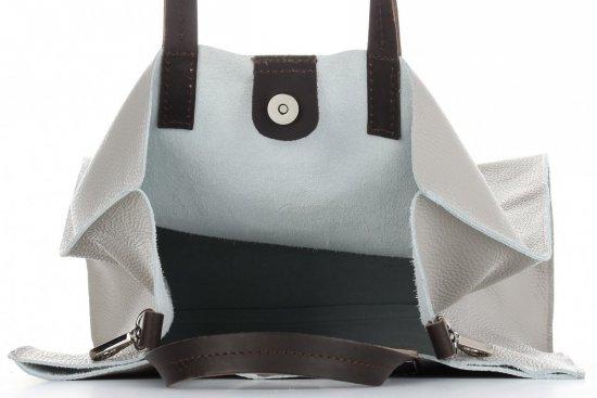 Praktyczne Torebki Skórzane 2 w 1 Shopper z Listonoszką firmy Genuine Leather Jasno Szara