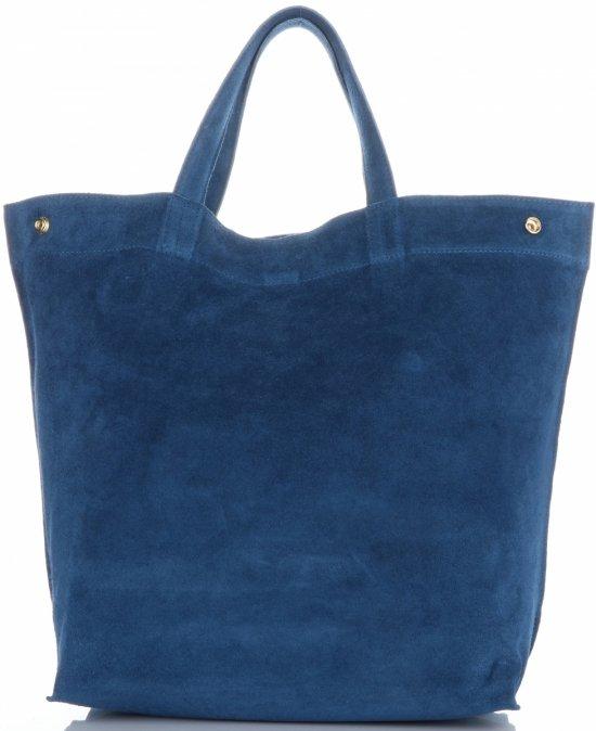d13cc54a41e50 Włoski Skórzany Shopper XL firmy Vera Pelle Jeansowy - Panitorbalska.pl
