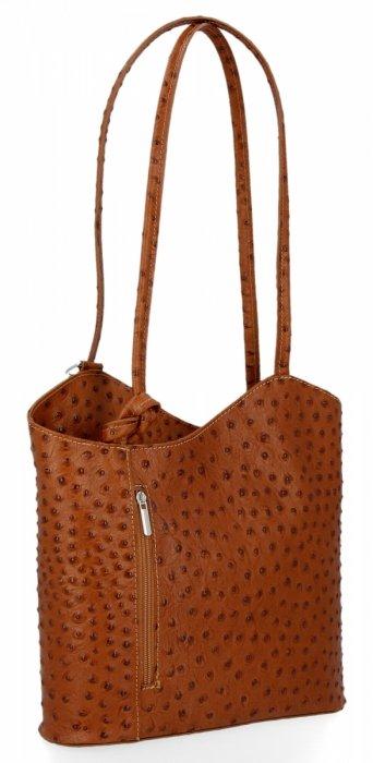 Włoska Torebka Skórzana firmy Genuine Leather Ruda